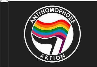 Flagge schwarz Motiv Antihomophobe Aktion Regenbogen Flagge 100x150 cm