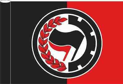 Flagge schwarz rot Motiv Antifa Laurel 100x150 cm
