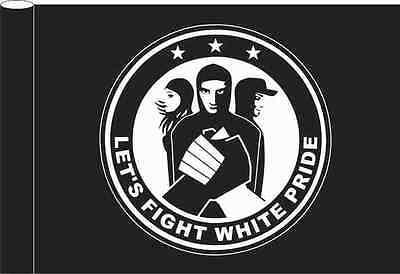 Fahne Schwarz Motiv Let's fight white pride 100x150 cm