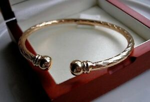 XL SOLID 9CT GOLD GF TORQUE BANGLE BRACELET SELLING FAST SILLY SILLY PRICE 53