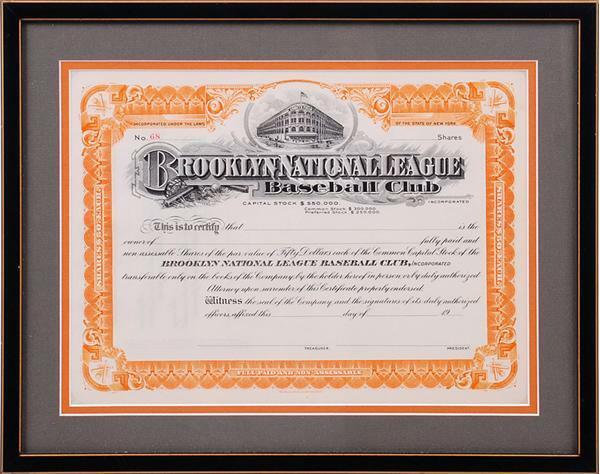 BROOKLYN DODGERS STOCK CERTIFICATE- MINT CONDITION!!!