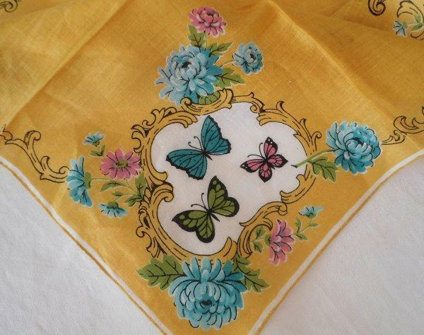 Vintage Mid Century Printed Hanky Golden Yellow Butterflies Blue Peonies