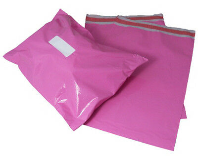 10 x Pink Plastic Mailing Bags Size 14x20