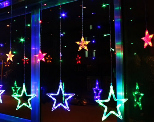 bunt led lichterkette stern vorhang fenster baum weihnachtsdeko flash lichter ebay. Black Bedroom Furniture Sets. Home Design Ideas