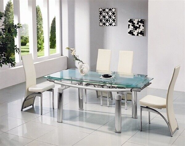 2019 Modern Extendable Gl Dining Table 8 Chairs Can Deliver