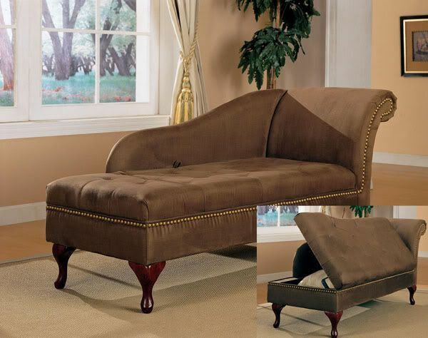 Traditional Chocolate Brown Microfiber Chaise Lounge with Flip Open Seat