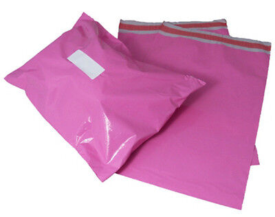 500 x Pink Plastic Mailing Bags 14x20