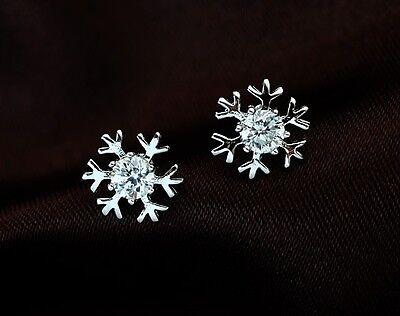 1 Paar Schneeflocken Ohrstecker Ohrringe Silber pl. Kristall Weihnachtsgeschenk!