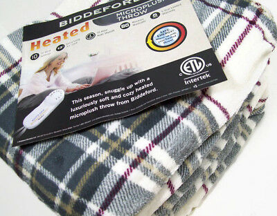 Biddeford Heated Electric Warming Micro Plush Multi Colors Plaid Throw Blanket