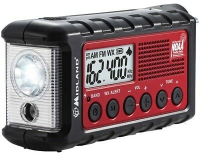 Midland Er310 Emergency Am Fm Weather Crank Solar Radio W  Led Flashlight   Usb