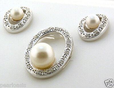 AAA 6-8MM FW Pearl & Diamond O-Style Earrings & Pendant Set, 14K White Gold Fw White Pearl Pendant