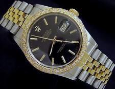 Rolex Datejust Mens 2Tone 18K Gold & Stainless Steel Black Jubilee Diamond 16013