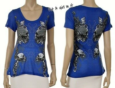 PLUS SIZE CRYSTAL STUDDED ROYAL BLUE MIRROR SKULL - Plus Size Bluse Pirat