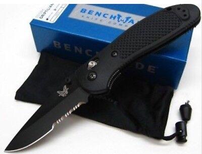 * NEW BENCHMADE GRIPTILIAN BLACK HANDLE BLACK BLADE COMBO EDGE KNIFE 551SBK Comboedge Black Handle