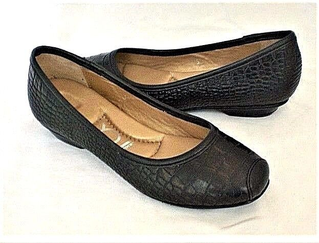 Crocs You by Crocs Sorbet flats black croco leather sz 5.5 Med NEW