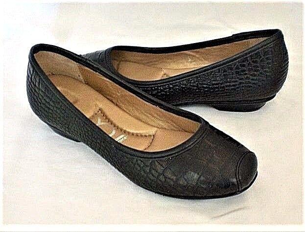 Crocs You by Crocs Sorbet flats black croco leather sz 5 Med NEW