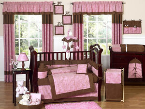 JOJO UNIQUE DISCOUNT PINK AND BROWN PAISLEY 9p BABY GIRL CRIB BEDDING LUXURY SET
