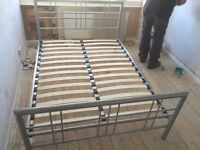 SILVER METAL DOUBLE BED FRAME ** FREE DROP OFF WEDNESDAY **