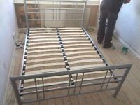 METAL SILVER DOUBLE BED FRAME ** FREE DROP OFF TODAY **