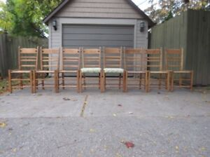 SET OF 8 MAPLE LADDER BACK CHAIRS