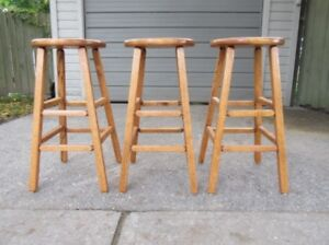 """SET OF 3 OAK STOOLS """"PERFECT FOR THE COTTAGE"""""""