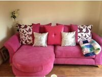 Pink DFS Pillowback Lounger Sofa
