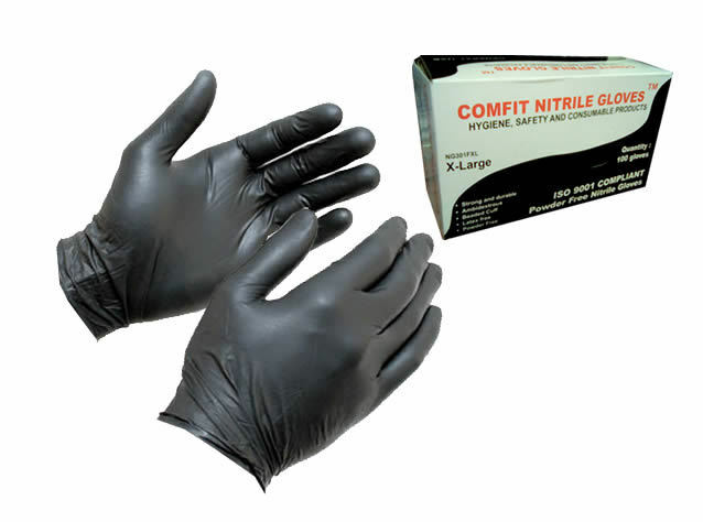 BOX OF 100 EXTRA LARGE XL NITRILE BLACK WORK GLOVES LATEX-FREE POWDER-FREE