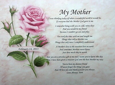 MY MOTHER PERSONALIZED POEM FOR BIRTHDAY OR MOTHER'S DAY GIFT IDEA FOR MOM on Rummage
