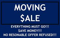 MOVING SALE (HOUSEHOLD ITEMS, ELECTRONICS, CLOTHES, AND MORE)