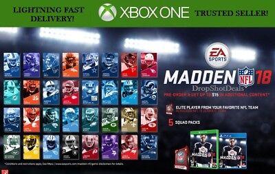 Xbox One Madden 18 Pre-Order Bonus Elite Player & Squad Pack DLC