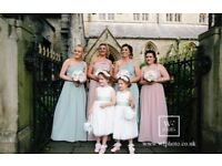 Bridesmaid dresses x 8 and flower girl dresses x 2 pink and sage green