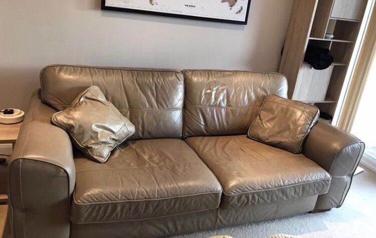 Leather 3 seater sofa and single armchair
