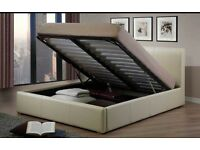 Double Ivory Cream Faux Leather Ottoman bed with mattress