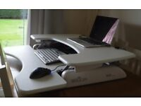 4 x WHITE VARIDESK desk-mounted computer stands