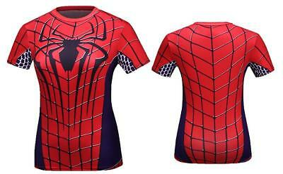Spider Woman Super Printed Sexy Woman sport T-shirt short  Sleeve Cosplay M-2XL  (Spider Woman Shirt)
