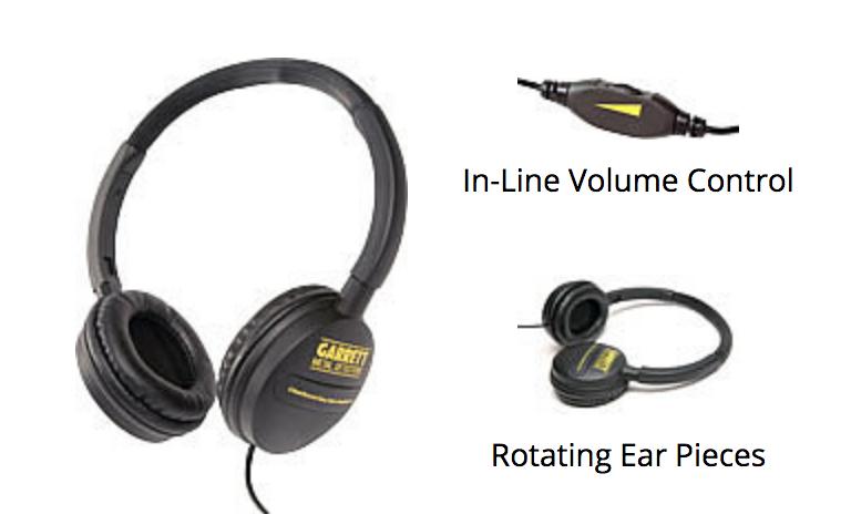 Garrett ClearSound Metal Detector Headphones w Volume Control 1612700 NEW