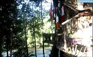 Treehouse Waterfront Glamping eco-tourism cottage lakefront