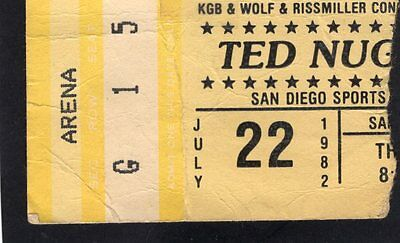 Original 1982 Ted Nugent concert ticket stub San Diego Cat Scratch Fever