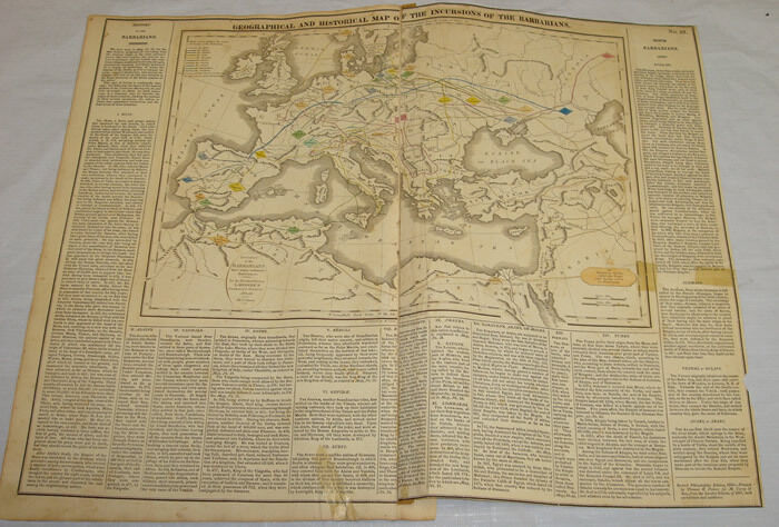1820 HISTORICAL MAP OF INCURSIONS OF BARBARIANS/Hand Colored