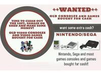 Wanted retro games consoles Nintendo Sega Ps1 Megadrive Snes Retro