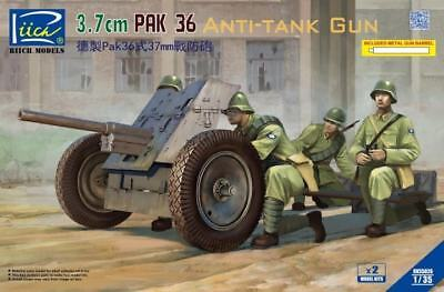 Riich Models 1/35 3.7cm PAK 36 Anti-Tank Gun w/Metal gun Barrel (2 kits in 1 box