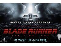 Secret Cinema Presents Blade Runner Tickets x 3. Sunday May 6th. £64 each.