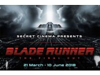 2 x Tickets for Secret Cinema Presents Blade Runner, 30th May 2018. Face Value.