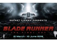 Secret Cinema 2x Tickets to Sold Out Blade Runner: The Final Cut this Saturday 28 April 2018