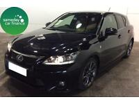 £265.51 PER MONTH BLACK 2013 LEXUS CT 200H 1.8 F-SPORT 5 DOOR HYBRID AUTOMATIC