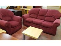 Red fabric 3 Seater Sofa and chair