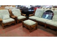 Woodern framed 3 piece suite with pouffe
