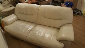 3 + 2 Seater Genuine Cream Leather Sofas Fast Delivery Service Available