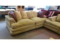 Set of 2 green fabric 2 seater sofas
