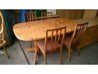 Pine extendable dining table with chairs